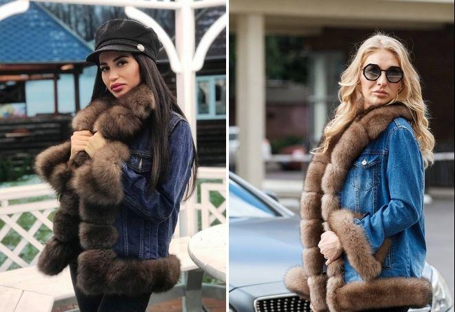 jeansjakker med naturlig pels