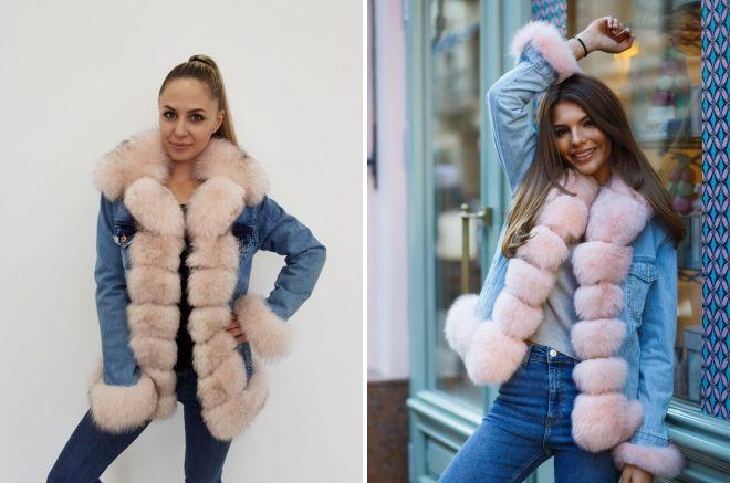 denim jakke med arktisk fox pels