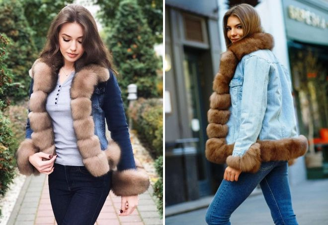 denim jakke med sable pels