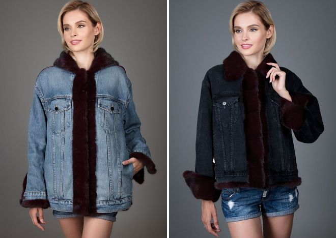 denim jakke med mink pels