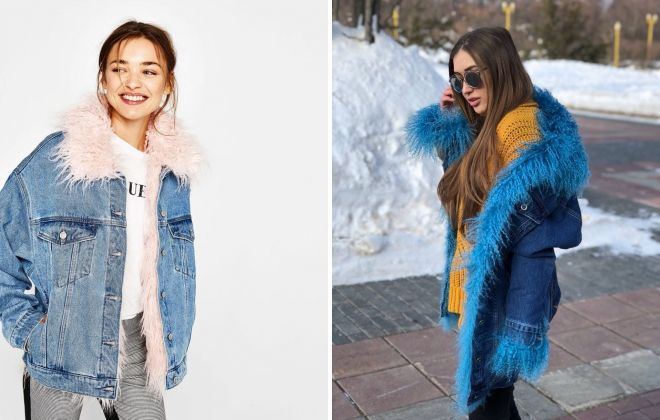 denim jakka með lama skinn