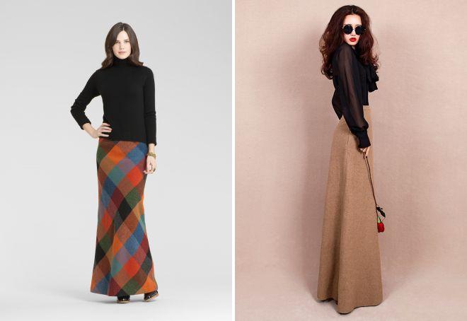 красивая длинная зимняя юбка модные фасоны шерстяные вязаные