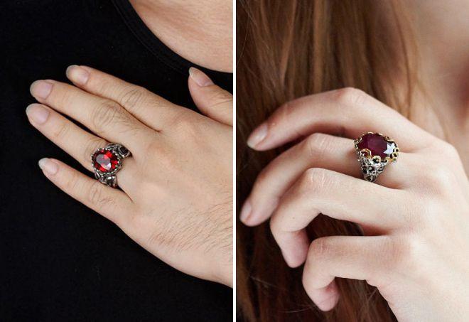 кольцо с гранатом серебро
