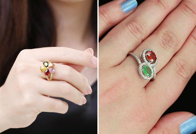 кольцо с натуральным гранатом