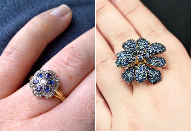 стильное кольцо с сапфиром