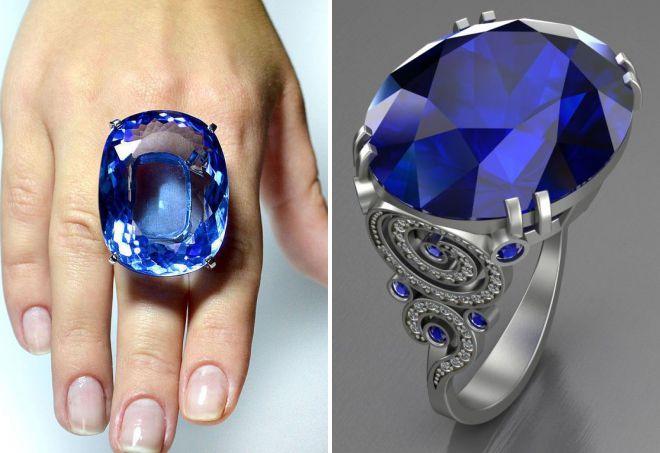 кольцо с большим сапфиром