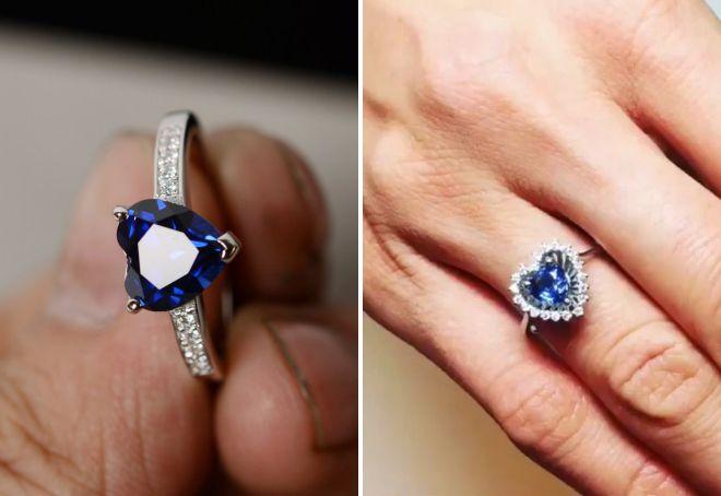 модное кольцо с сапфиром