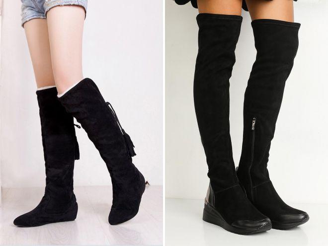 зимние ботфорты без каблука