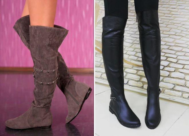 модные ботфорты без каблука