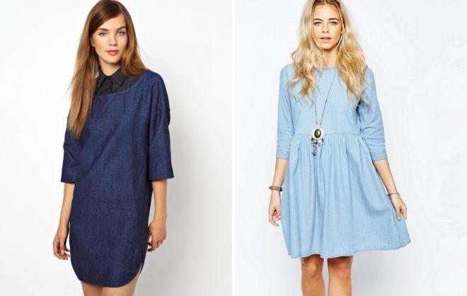 джинсовое платье в стиле оверсайз