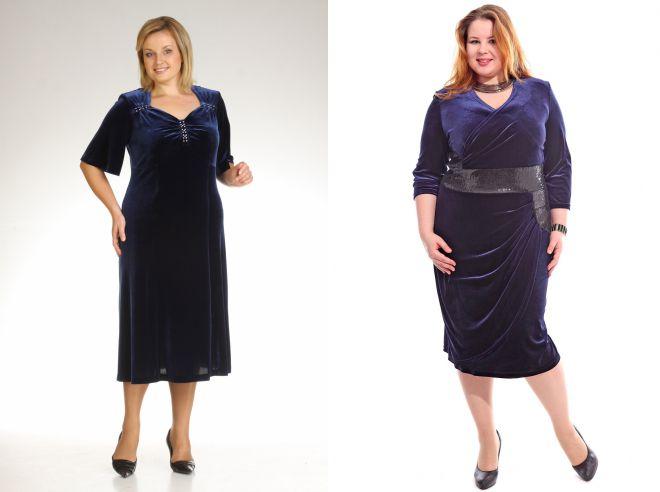 платье из бархата для полных женщин