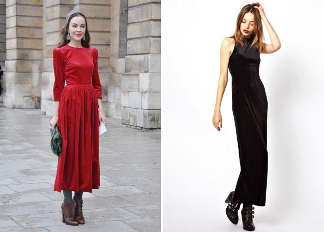 модные бархатные платья