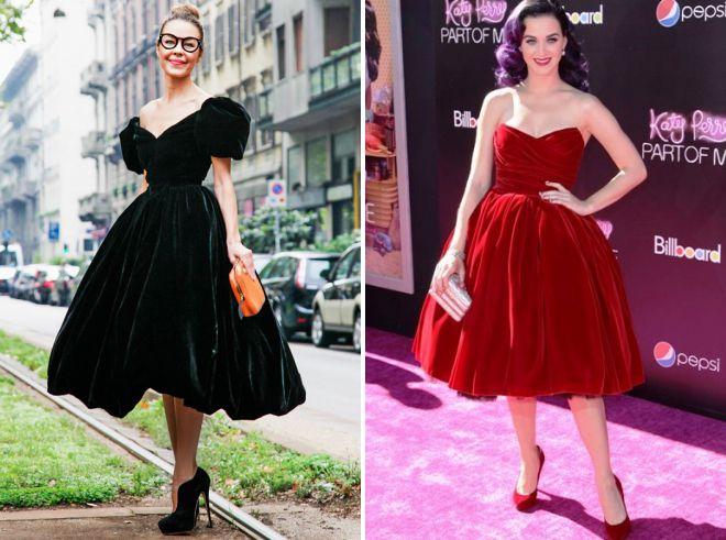 бархатное платье ретро