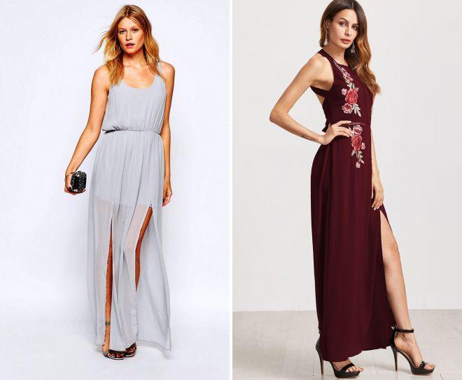 повседневные летние платья с разрезами 2018