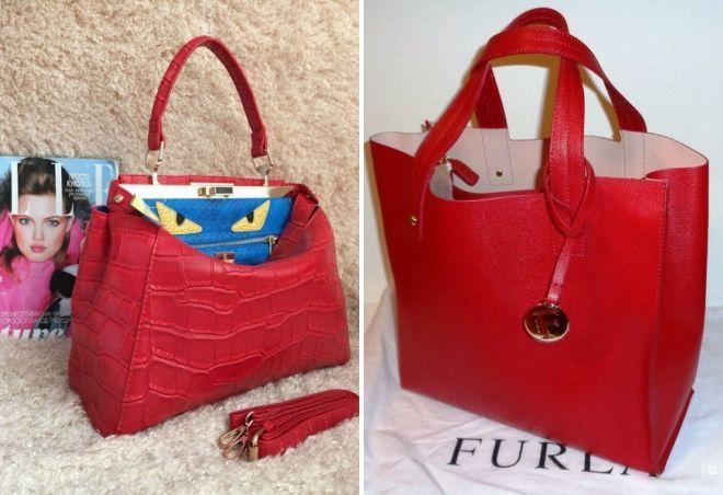 красные сумки известных брендов