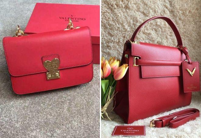 красная сумка Валентино
