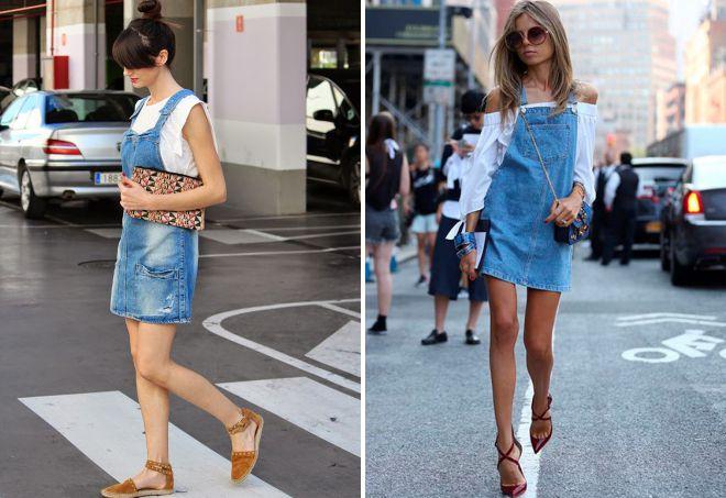 с чем носить женский джинсовый сарафан