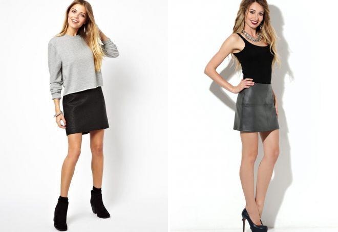 с чем носить короткую кожаную юбку