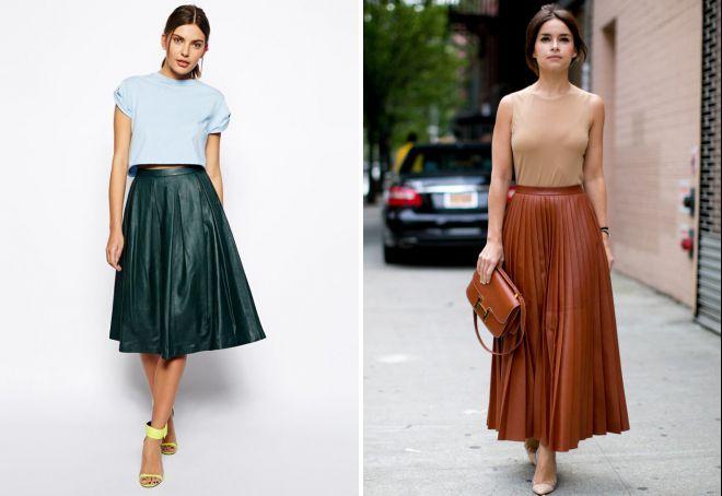 с чем носить кожаную плиссированную юбку