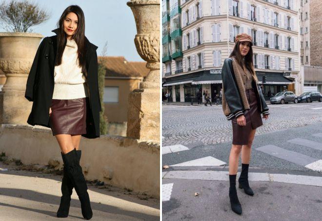 с чем носить кожаные юбки зимой
