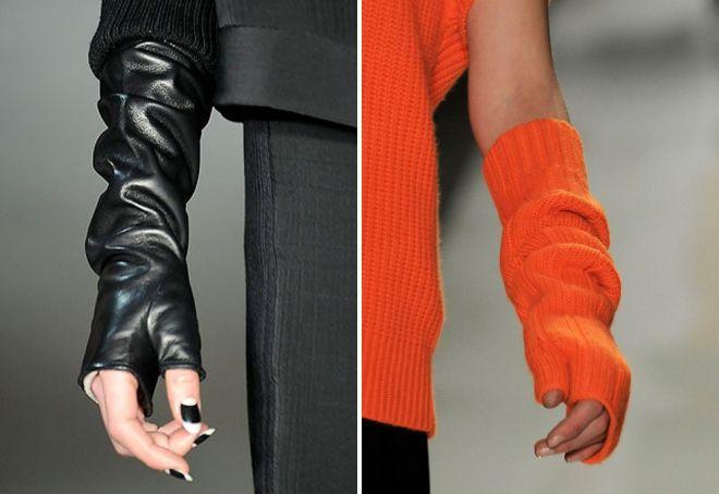 женские длинные перчатки без пальцев