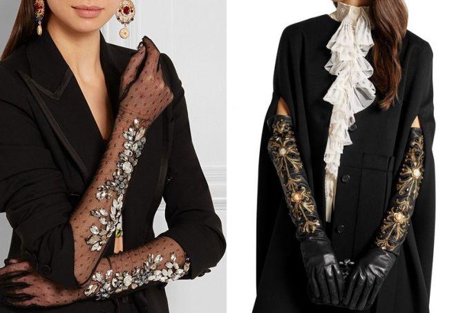 модные женские длинные перчатки