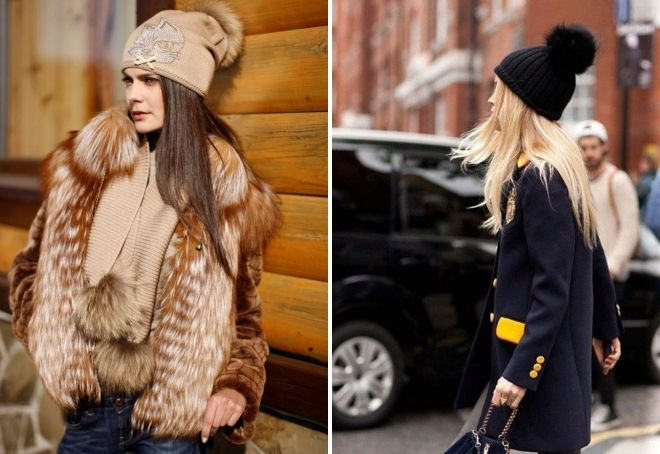 hat with a fur pompon how to wear