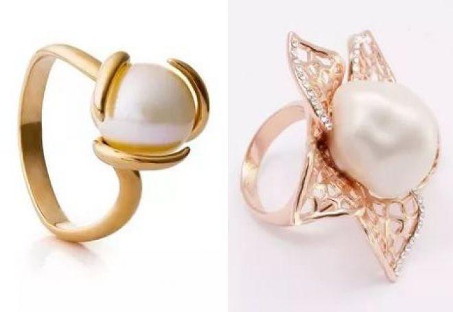кольцо с крупным жемчугом