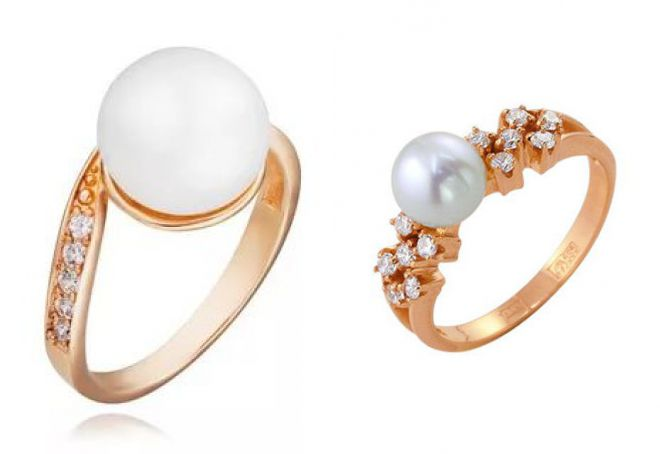 кольцо с жемчугом и фианитами