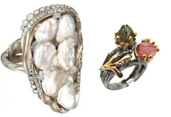 кольцо с необработанным жемчугом