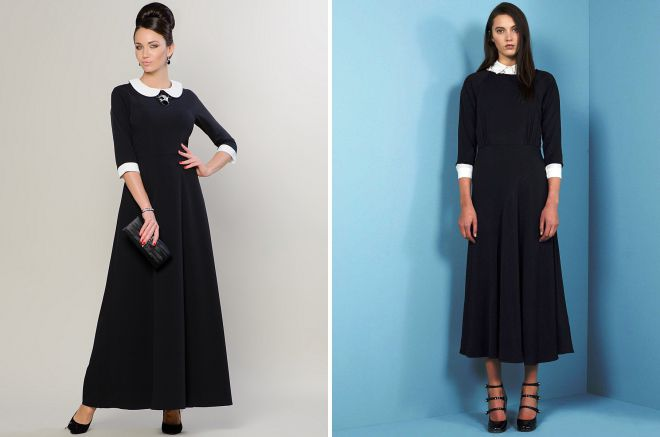 длинные черные платья с белым воротником