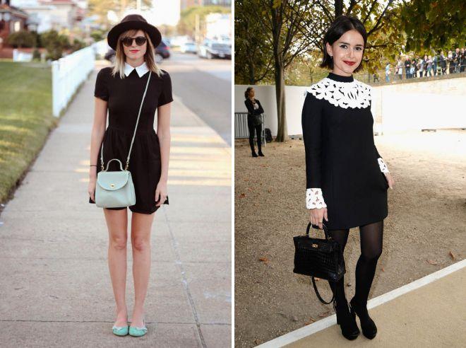 короткое черное платье с белым воротником