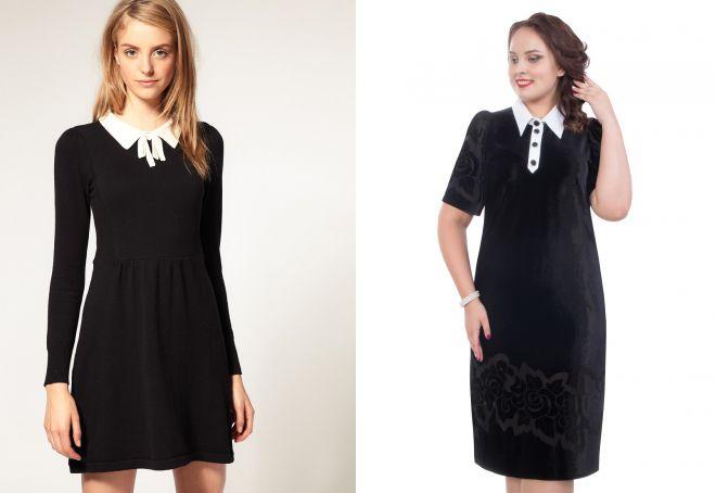 модное черное платье с белым воротничком