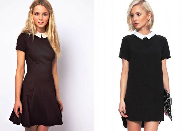 маленькое черное платье с белым воротничком