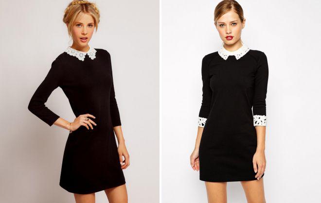 черное платье с белым кружевным воротником