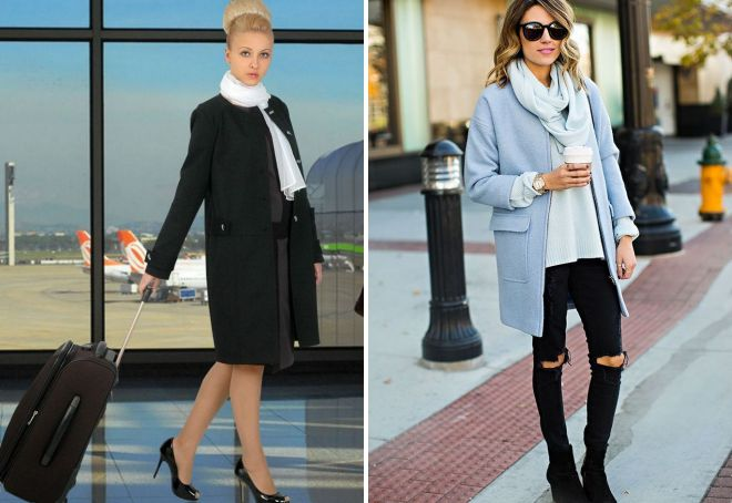 как повязать платок на пальто без воротника