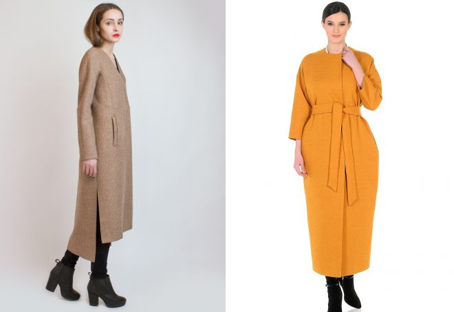 длинное пальто без воротника