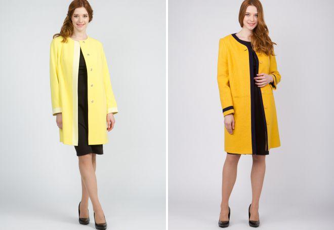 короткое пальто без воротника