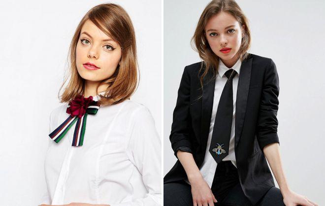 галстук в женском гардеробе