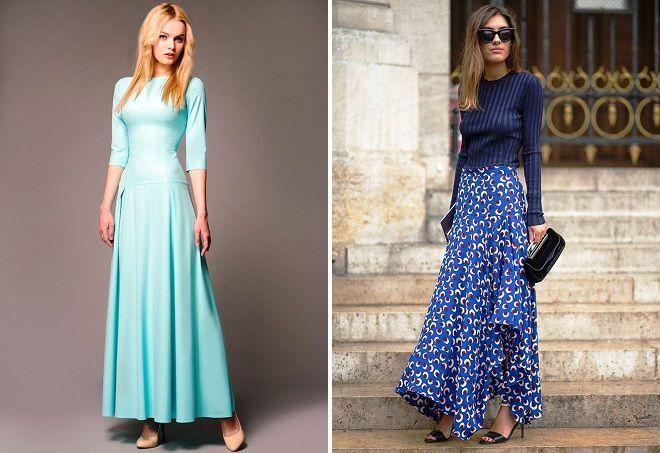 длинные платья на весну