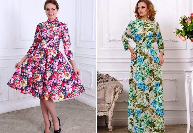 весенние платья с цветочным принтом