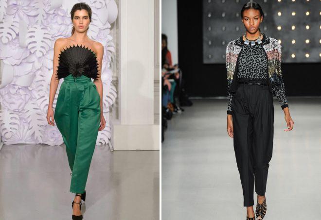 Модные брюки-бананы 2018 широкий пояс1