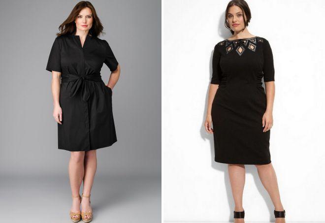 классическое черное платье для полных
