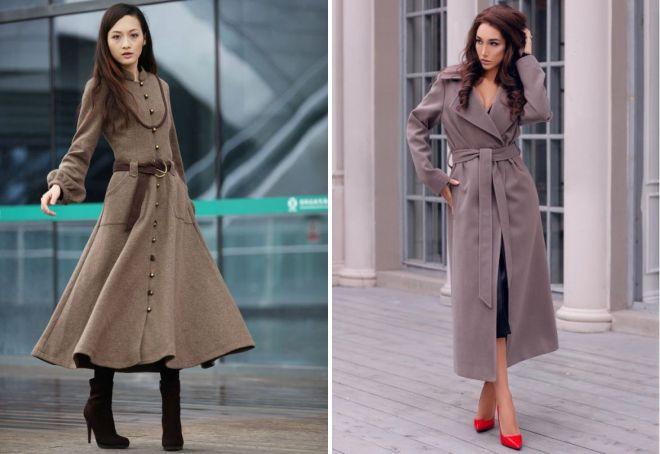 виды длинных пальто