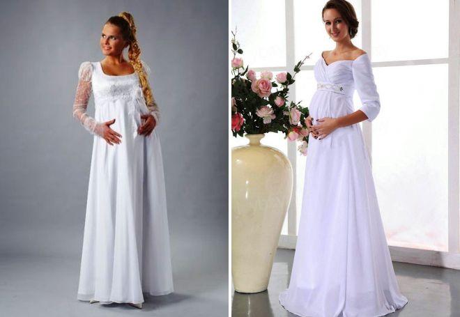 свадебное платье для беременных с рукавами