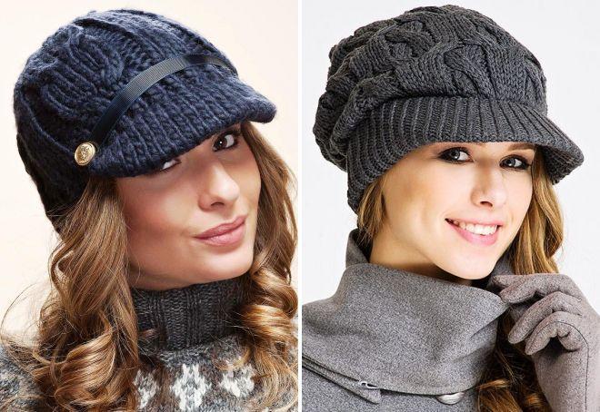 вязаные женские кепки
