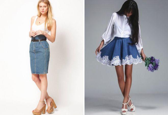 фасоны джинсовых юбок для лета
