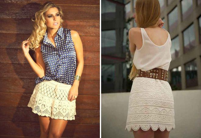 летние вязаные юбки