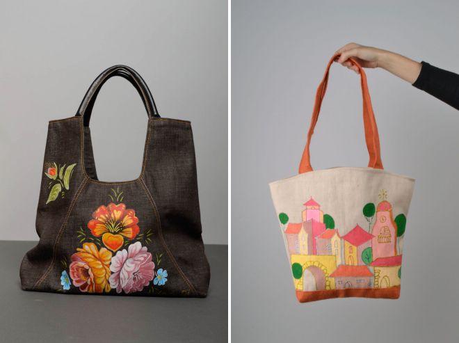 текстильная сумка с росписью