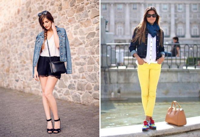 женские летние образы с курткой